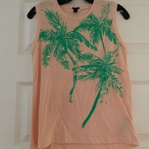 Pink and green jcrew sequin Palm tree muscle tee